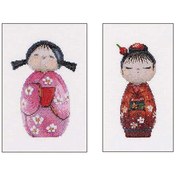 "6.25""X8.5"" 18 Count - Kokeshi Dolls On Aida Counted Cross Stitch Kit"