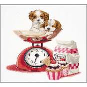 """12.25""""X11.75"""" 16 Count - Baking Puppy On Aida Counted Cross Stitch Kit"""