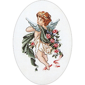 """9.75""""X14"""" 12 Count - Poetry Cherubs On Aida Counted Cross Stitch Kit"""
