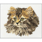 """11.75""""X15.75"""" 12 Count - Long-Haired Brown Cat On Aida Counted Cross Stitch Kit"""