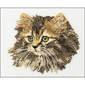 "11.75""X15.75"" 12 Count - Long-Haired Brown Cat On Aida Counted Cross Stitch Kit"