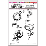 "Abstract Blooms - Dina Wakley Media Cling Stamps 6""X9"""