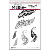 """Sketched Layered Fronds - Dina Wakley Media Cling Stamps 6""""X9"""""""