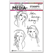 """Words In Faces - Dina Wakley Media Cling Stamps 6""""X9"""""""
