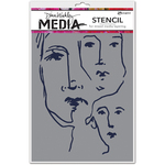 "Scribbled Faces - Dina Wakley Media Stencils 9""X6"""