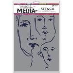 "Scribbled Faces - Dina Wakley Media Stencils 9""X6"""