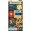Softball - Play Ball Cardstock Stickers
