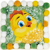 """11.75""""X11.75"""" 10 Count - Chicken Cushion Counted Cross Stitch Kit"""