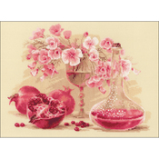 """15.75""""X11.75"""" 14 Count - Pink Pomegranate Counted Cross Stitch Kit"""