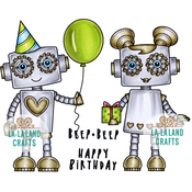 "Birthday Robot - La-La Land Cling Stamps 4.5""X3.5"""