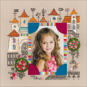 """11.75""""X11.75"""" 14 Count - Photo Frame Princess Castle Counted Cross Stitch Kit"""