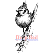 """Tufted Titmouse - Deep Red Cling Stamp 1.5""""X3.2"""""""