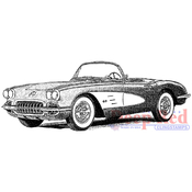 """Classic Corvette - Deep Red Cling Stamp 3.2""""X1.25"""""""