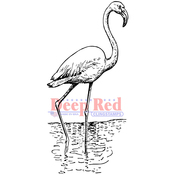"""Flamingo - Deep Red Cling Stamp 1.4""""X3.2"""""""