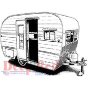 """Vintage Camper - Deep Red Cling Stamp 3""""X2.2"""""""