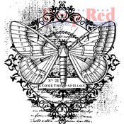 """Butterfly Flourish - Deep Red Cling Stamp 3""""X3.1"""""""