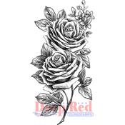 """Rose Sketch - Deep Red Cling Stamp 2""""X4"""""""