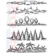 """Natures Borders - Deep Red Cling Stamp 4""""X6"""""""