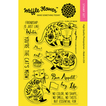 """Flora Cat Meow - Waffle Flower Crafts Clear Stamps 4""""X6"""""""
