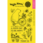 "Happy Day - Waffle Flower Crafts Clear Stamps 4""X6"""