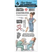Proud Nurse - Art Impressions Work & Play Cling Rubber Stamp