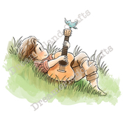 "Relaxing Guitar Music - DreamerlandCrafts Cling Stamp 4""X7"""