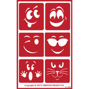 "Wacky Faces - Over 'N' Over Reusable Stencils 5""X8"""