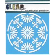 "Floral Circle - Clear Scraps Stencils 6""X6"""