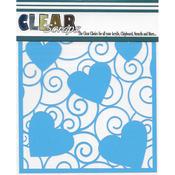 "Swirl Hearts - Clear Scraps Stencils 12""X12"""