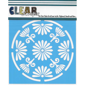 "Floral Circle - Clear Scraps Stencils 12""X12"""
