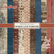 """12 Single-Sided Designs/2 Each - ScrapBerry's Words Live Forever Paper Pack 6""""X6"""" 24/Pkg"""