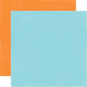 Light Blue - Orange Solid Paper - Under The Sea - Echo Park