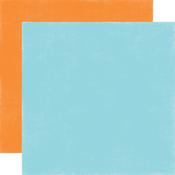 Light Blue - Orange Solid Paper - Under The Sea - Echo Park