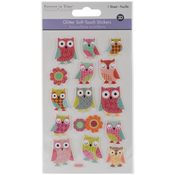 Owl - MultiCraft Glitter Soft-Touch Dimensional Stickers