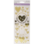 Hearts Gold - MultiCraft Clear Foil Stickers