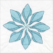 """Floral Pinwheel - Stamped White Quilt Blocks 18""""X18"""" 6/Pkg"""