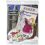 """17"""" Long 14 Count - Christmas Tree Snowman Stocking Counted Cross Stitch Kit"""