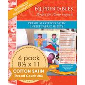 "Premium Printable Cotton Satin Fabric 8.5""X11"" 6/Pkg"