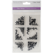 "Floral Corners - MultiCraft Clear Stamps 4.12""X6.25"""