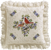 """14""""X14"""" Stitched In Thread - Birds And Berries Candlewicking Embroidery Kit"""