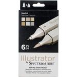 Neutrals - Spectrum Noir Illustrator Twin Tip Markers 6/Pkg