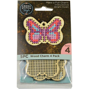 4/Pkg - Wood Butterfly Punched For Cross Stitch