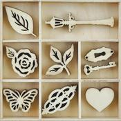 Bouquet Themed Mini Wooden Flourishes 40/Pkg - KaiserCraft