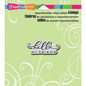 """Scrolled Hello - Stampendous Cling Stamp 4.75""""X4.5"""""""