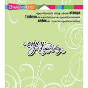 """Scrolled Enjoy - Stampendous Cling Stamp 4.75""""X4.5"""""""