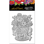 "Teacup - Stampendous Laurel Burch Cling Stamp 7.75""X4.5"""