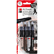 Essentials - Flesh, Cocoa, White & Black - Marabu Creative Art Crayon Set 4/Pkg