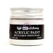 White Pearl Metallique Acrylic Paint - Art Alchemy - Prima