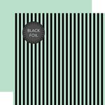 Mint Stripe Black Foil Paper - Halloween - Echo Park
