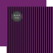 Purple Stripe Black Foil Paper - Halloween - Echo Park